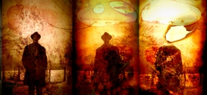 distressed man triptych